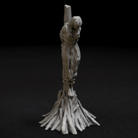 wood wooden burn stake witch torture lady women girl tied peasant stl mesh dnd 3dprint mini miniature