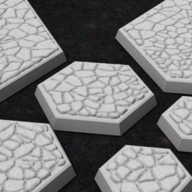 base hexagonal hex stones pebbles cobble stone stl mesh dnd 3dprint mini miniature