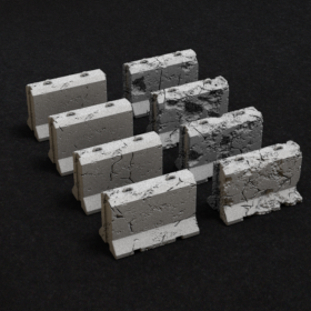 barrier road damaged traffic wall concrete cement highway construction blocks retaining crash stl mesh dnd 3dprint mini miniature