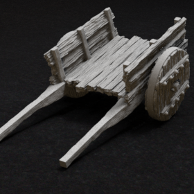 wood wooden cart wagon carriage stl mesh dnd 3dprint mini miniature
