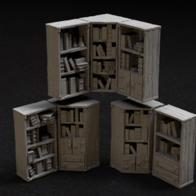 prop book shelf shelve furniture shelves shelfs books library cabinet props stl mesh dnd 3dprint mini miniature