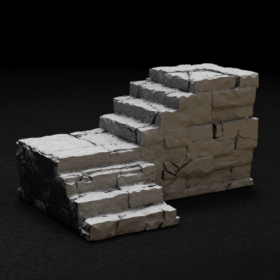 stone dungeon dnd stairs catacomb catacombs stair corner bend right brick stl mesh dnd 3dprint mini miniature