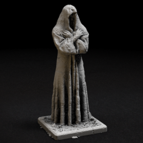 stone rock hooded statue figure crossed arms stl mesh dnd 3dprint mini miniature
