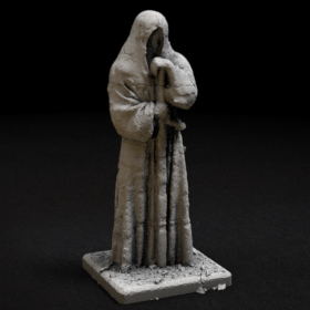 stone rock hood hooded statue sword figure stl mesh dnd 3dprint mini miniature