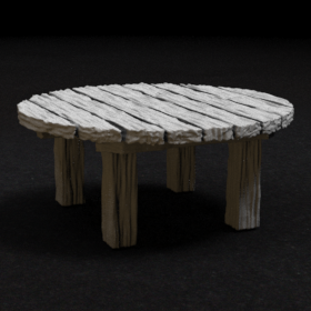 wood wooden round circular circle furniture tavern table stl mesh dnd 3dprint mini miniature