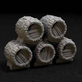 barrel stack beer tavern stock rack wine store medieval stl mesh dnd 3dprint mini miniature