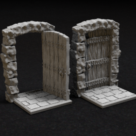 wood wooden stone door medi evil open closed zombicide stl mesh dnd 3dprint mini miniature
