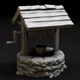 stone well water roof stl mesh dnd 3dprint mini miniature