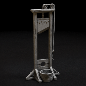 execution execute punishment guilotine guillotine giloteen guilotenes gullotine gellatin behead capital basket blade stl mesh dnd 3dprint mini miniature