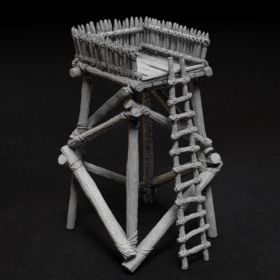 log wood ladder 28mm tower lookout look out stl mesh dnd 3dprint mini miniature