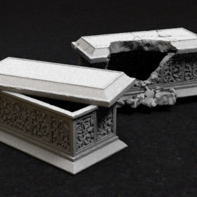 stone tomb burial coffin dead undead sarcophagus sarcophagi rock concrete slab block stl mesh dnd 3dprint mini miniature