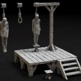 wooden man dead hang hangman hanging gallows execution execute punish punishment rope stairs stool chair stl mesh dnd 3dprint mini miniature